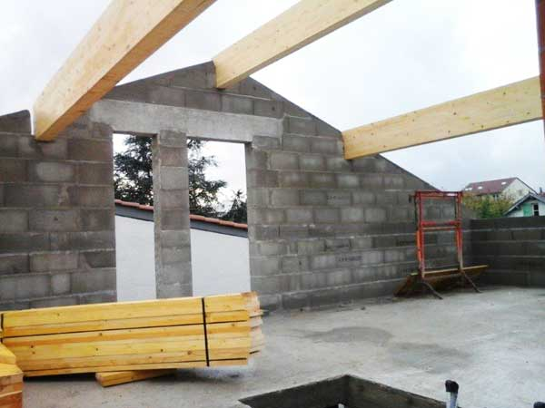 Installation of the wood frame supporting the roof