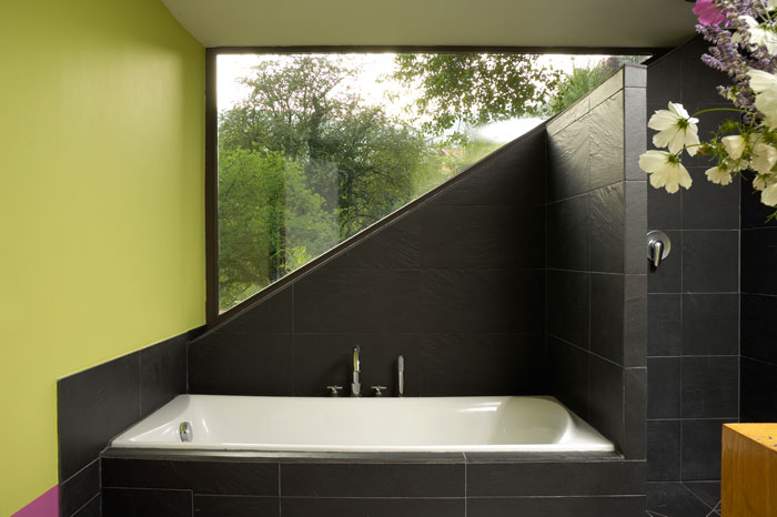 Bathroom with triangular window
