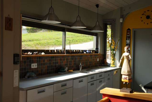 Kitchen with long window