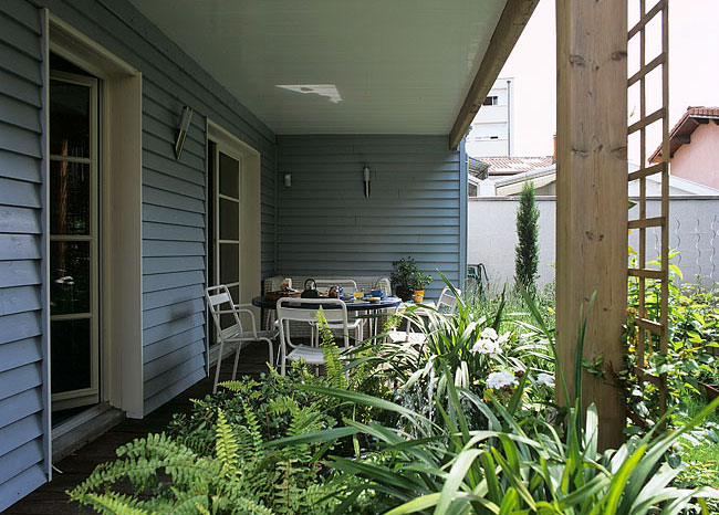Covered terrace with plants