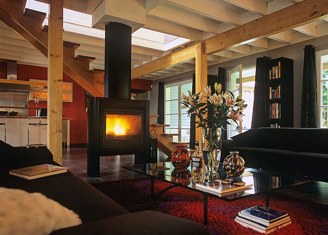 Heating by wood stove in a city loft
