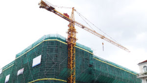 Construction site of a large building